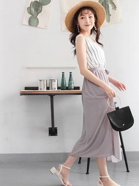 附綁帶腰鬆緊直條紋拼素面裙襬無袖雪紡長洋裝.2色