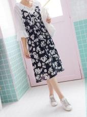 滿版浪漫花朵圖案腰圍鬆緊V領口肩帶雪紡長洋裝.2色