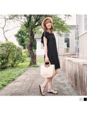 質感純色荷葉袖背後鏤空挖洞造型洋裝.2色