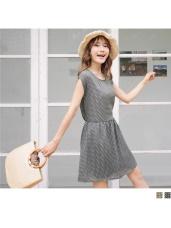 繽紛幾何印花蝴蝶結美背造型腰圍鬆緊連袖洋裝.2色