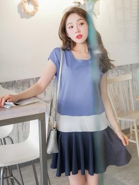 簡約配色層次感拼接魚尾裙襬連袖洋裝.2色