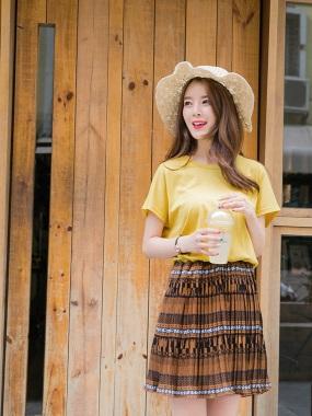 純色高含棉拼接下襬圖騰印花百褶洋裝.2色