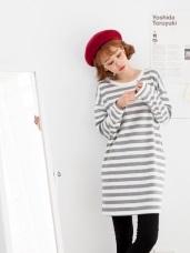 滿版橫條紋兩側口袋寬鬆長袖洋裝.2色