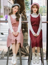 無袖蝴蝶結素面麂皮洋裝/上衣