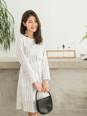 黑白相間直條紋腰圍鬆緊長版洋裝