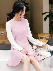 袖子拼接魚尾裙襬圓領洋裝