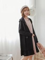 釦環抽繩荷葉下襬長版磨毛連帽外套/洋裝