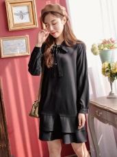 韓劇男友激似款~領綁帶雙層荷葉裙襬洋裝