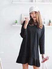 袖口拼接裙襬魚尾圓領洋裝