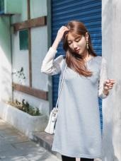 透膚拼接蕾絲袖柔色調羅紋洋裝