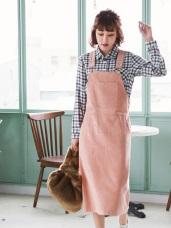 高含棉燈芯絨大口袋吊帶裙