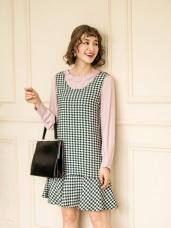 花紋絨布荷葉裙襬吊帶背心洋裝