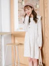 高含棉滿版點點大荷葉翻領造型磨毛洋裝