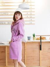 親子系列~字母燙印金蔥連帽內刷毛衛衣洋裝