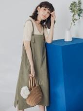 純色高含棉連身吊帶裙