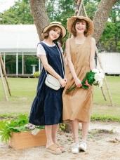 竹節棉無袖長版拼接裙娃娃洋裝