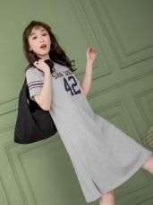 親子系列~高含棉字母數字條紋配色洋裝