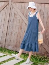 高含棉後排釦口袋車線荷葉下襬吊帶裙