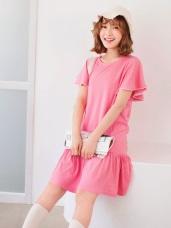 配色荷葉袖拼接魚尾裙襬純色洋裝