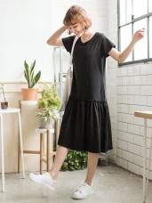 素面拼接車線腰圍裙襬長版寬鬆洋裝