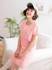 高含棉漸層拼色側口袋設計洋裝