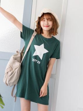 台灣製造.竹節棉星星英文燙印長版上衣/洋裝