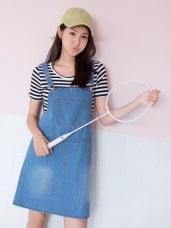 高含棉水洗牛仔丹寧率性吊帶裙