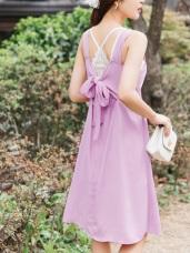 婚禮系列~後鬆緊蝴蝶結綁帶純色長洋裝