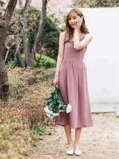 婚禮系列~肩帶荷葉滾邊扭結設計純色長洋裝