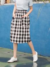 親子系列~撞色格紋雙口袋造型棉質中長包裙