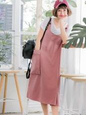 高含棉不規則剪裁側口袋造型吊帶裙
