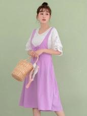 高含棉原宿風素面交叉吊帶裙