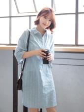 高含棉寬袖條紋襯衫/洋裝