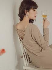純色針織美背設計V領洋裝