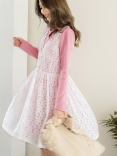 兩件式雕花蕾絲小釦長袖洋裝