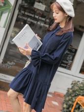 燈芯絨手感荷葉袖綁帶排釦高棉洋裝