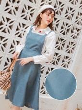 馬卡龍純色調麂皮手感吊帶裙