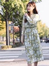 浪漫約會系列~氣質印花領結綁帶長洋裝
