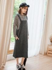 溫暖毛感豎壓紋口袋吊帶裙