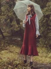 條紋襯衫拼接仿毛料假兩件式魚尾洋裝