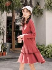 純色拼接層次感荷葉洋裝