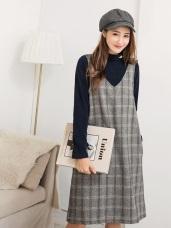 背部造型設計格紋背心洋裝