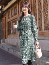 質感豹紋印花厚雪紡綁帶洋裝