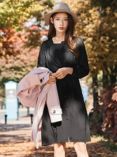知性感前褶設計純色排釦洋裝