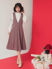 純色質感連身背心洋裝
