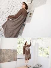 拼接層次格紋英文字魚尾洋裝