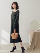 純色口袋造型仿針織洋裝