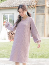 純色立體紋理小拋袖針織洋裝