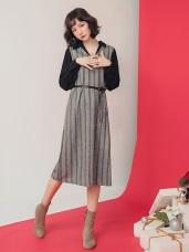 圖騰面磨毛V領假兩件式洋裝