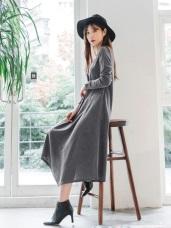 不規則剪裁裙襬設計純色長洋裝